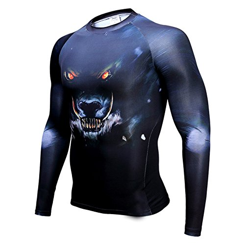 L&H Men's Monster Super Hero Riding shirts Sweet-free Quick-dry Compression Shirt Basketball training shirt Long sleeve (Spiderman Cosplay For Sale)