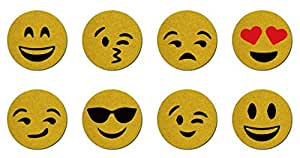 Set of 8 Hand Painted Emoji Cork Coasters Buy One Get One Up Free Items (8)