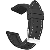 OLLREAR Silicone Watch Strap Replacement Rubber Watch Band -8 Colors & 5 Sizes - 16/18/20/22/24mm (22mm, Black/White)