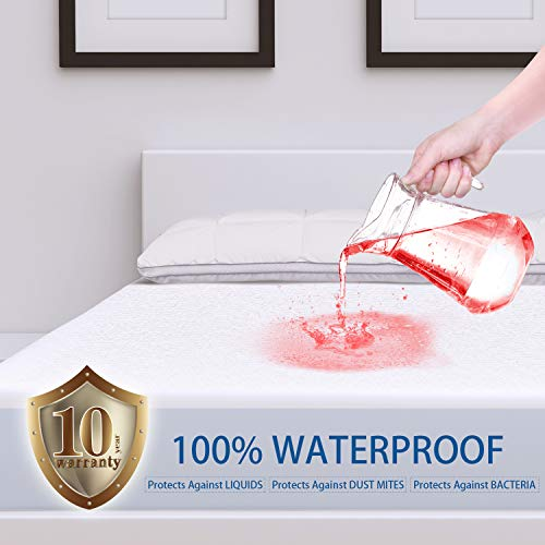 "ZAMAT Premium 100% Waterproof Mattress Protector, Breathable & Noiseless Mattress Pad Cover, Fitted 14""-18"" Deep, Vinyl Free, Hypoallergenic 