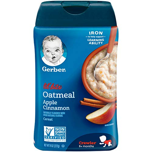 Gerber Lil' Bits Baby Cereal, Oatmeal Apple Cinnamon, 8 Ounce