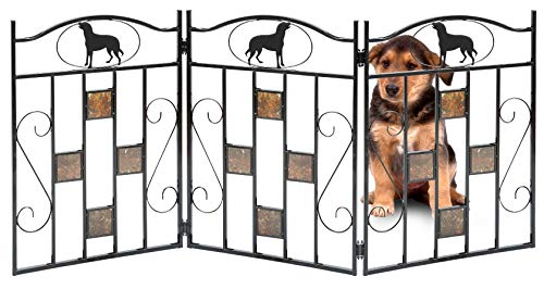 Bundaloo Freestanding Metal Folding Pet Gate | Large Portable Panels for Dog & Cat Security | Foldable Enclosure Gates for Puppies | Indoor & Outdoor Safety for Pets (Black, Geometric Square) ()