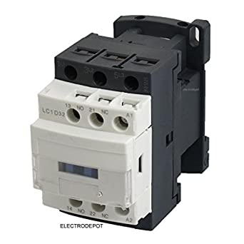 30A Contactor 3 Pole, 110/120V Coil, Motor load 32A, Lighting 40A, 50A, DIN Rail mount