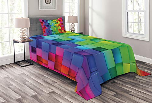 (Ambesonne Colorful Bedspread, Rainbow Colored Contour Display Futuristic Block Brick-Like Geometric Artisan, Decorative Quilted 2 Piece Coverlet Set with Pillow Sham, Twin Size, Rainbow Colors)