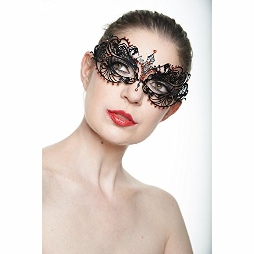 Sultry North Star Masquerade Mask (Clear Rhinestones; One Size Fits All) (Red Rhine/Black) -