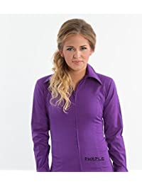 Zip up Fitted Show Shirt- Purple MD