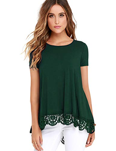 (RAGEMALL Women's Tops Short Sleeve Lace Trim O-Neck A-Line Tunic Blouse Tops for Women Green XXL)
