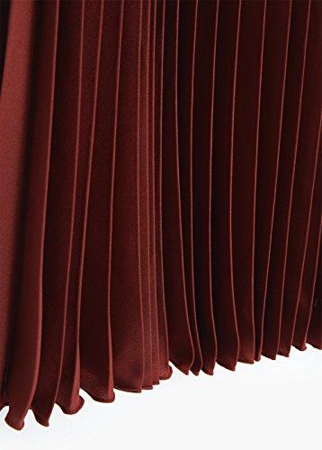 Jupe midi plissée - Taille: 34 - Couleur: Cognac