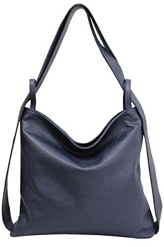 de cuero bolsos mochila GL019 mujer Azul 2 de en de AmbraModa para Bolsos con Marino mano hombro 1 bolsos 5wRaOnqpI