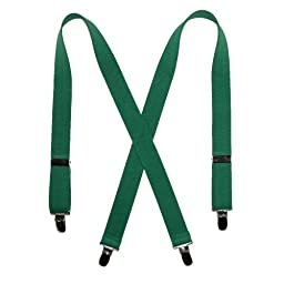 CTM Kids\' Elastic Clip-End 1 Inch Solid Suspenders, Kelly Green