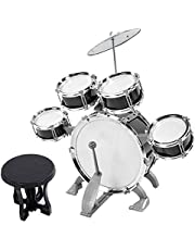 Kids Drum, Junior Drum Set Musical Instrument Drum Toy, Gift Toy for Beginners Boys Baby(586-104 black)