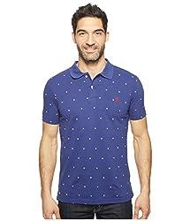 U.S. Polo Assn. Men's Printed Short Sleeve Classic Fit Pique Shirt, White, M