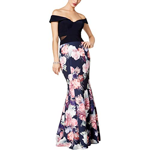 Xscape Womens Off-The-Shoulder Floral Print Formal Dress Navy 4
