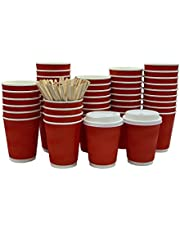WAVY CUP - Disposable Hot Paper Coffee Cups To-Go with Lids and Stirs (100 pack 12 Oz.)