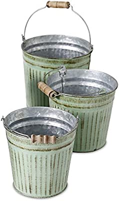 Amazon Com French Country Pail Planters Set Of 3 Bucket Cache Pot Jardinieres Distressed Pale Green Finish With Terracotta Undertones Galvanized Zinc Corrugated Wood Details 6 25 Inches Home Kitchen