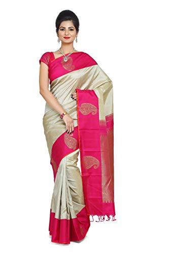 (RAJARAMS Cream Color Striped Pure Handloom Kanjeevaram Silk Saree)