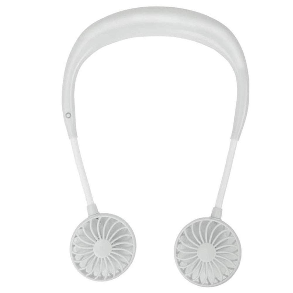 SHKY Portable Hand Free Personal Fan-Wearable Headphone Neckband Fan,with Dual Wind Head for Traveling Outdoor Office Room,Silent Popular,White