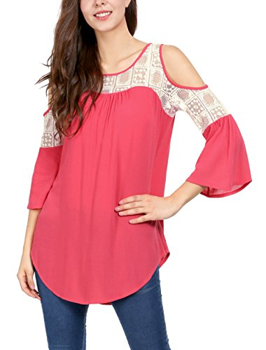 Allegra K Women's Cut Out Shoulder Lace Panel 3/4 Bell Sleeves Top XL Red