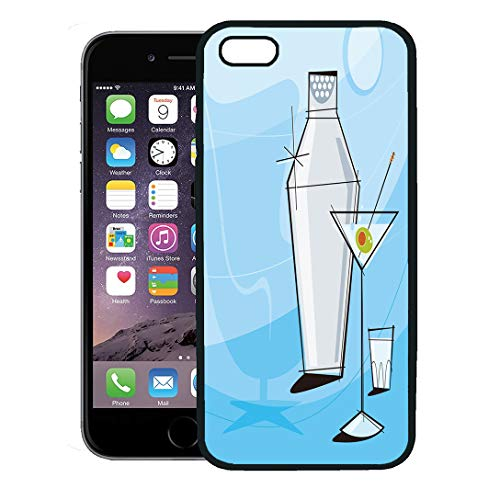 (Semtomn Phone Case for iPhone 8 Plus case,Retro Martini Vignette Shaker and Shot Glass Each Item is Grouped So You Them Independently from The iPhone 7 Plus case Cover,Black)