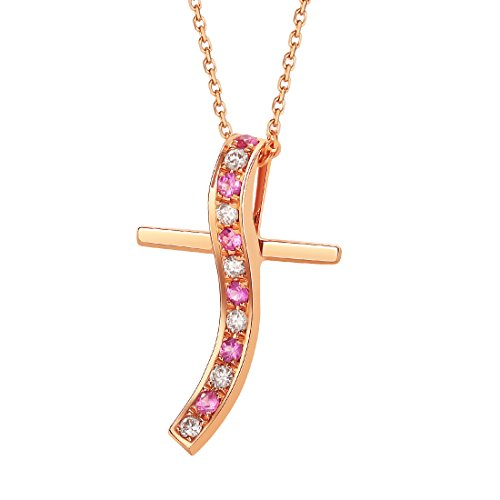 Solid 18K Rose Gold Natural Pink Sapphire Cross Necklace for Women 0.044cttw Diamond Necklaces