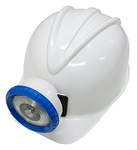 WHITE Explorer Miner Helmet with Bright, Directional LED Lights (batteries included) | Fully Adjustable Toy Hard Hats for Any Age, Available in 6 Vivid Colors by (Spelunker Costume)