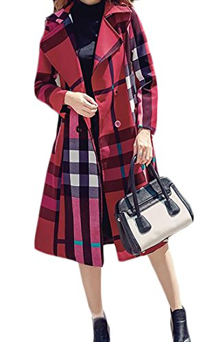 KLJR-Women Casual Slim Fit Double Breasted Plaid Belted Trench Coat Red US (Double Breasted Belted Plaid Coat)