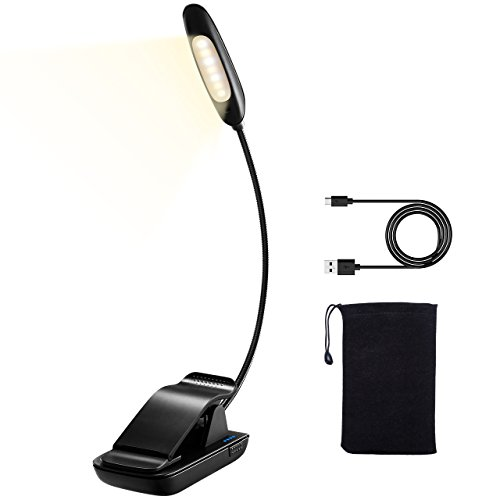 LED Book Light, TOPELEK 7 LEDs Reading Light with 3 Levels Color Temperature and 3 Levels Brightness, USB Rechargeable, Eye Protection Brightness, Clip-on Design, for Kindle, Book, Computer