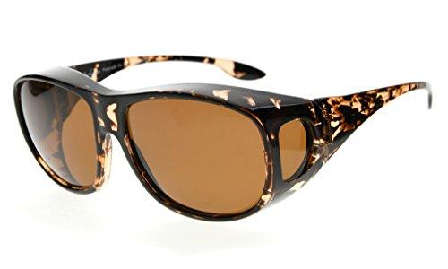 Eyekepper Retro Style Large Lenses Polarized Fitover Sunglasses for Prescription Glasses (White Tortoise/Brown - Sunglasses Polarised Prescription