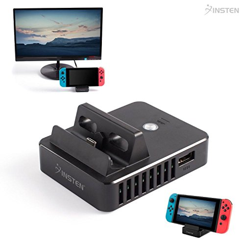 Insten Portable Charging Dock for Nintendo Switch, Cradle Stand with TV Mode, Screen Toggle Button ,HDMI Port & 3 USB Ports, Black (Cable and Power adapter NOT included) by INSTEN