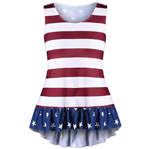 New Fashion Womens Plus Size American Flag Print Ruffles Bowknot Patriotic Tank Tops Verano Tank top Multicolor -