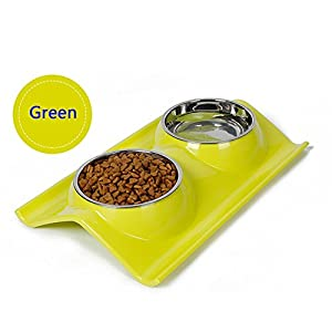 Double Dog Cat Bowls Stainless Steel Pet Bowls No-skid No Spill Pet Food Water Feeder,Premium Quality Feeder Solution for Small Dogs and Cats.Halloween Gift