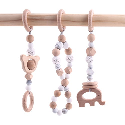 Wooden Play Gym Frame Baby Silicone Teething Beads Wooden Teether Crochet Beads Teething Rings Infant Toys ()