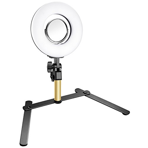 Neewer Table Top Mini LED Ring Light Lighting Kit Includes 7.7-inch Outer 24W 5500K Ring Light, 3.5-inch Mirror, Desktop Support Stand for Beauty Blog Make up Selfie Studio Portrait Video ()