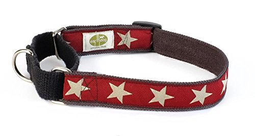 Hemp Martingale Dog Collars-M(14_20)-RED by Earthdog