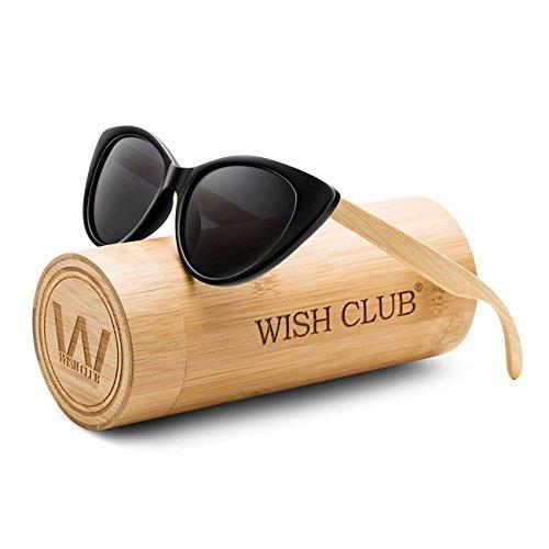 WISH CLUB Polarized Cat Eye Wood Handmade Sunglasses for Women and Men with UV 400 (Grey)