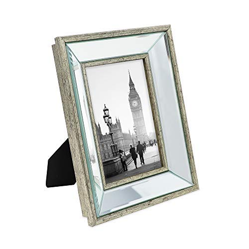 Isaac Jacobs 4x6 Silver Beveled Mirror Picture Frame - Classic Mirrored Frame with Deep Slanted Angle Made for Wall Décor Display, Photo Gallery and Wall Art (4x6, Silver)
