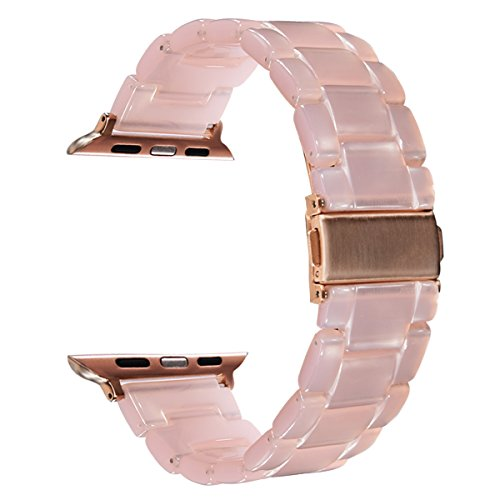 V-Moro Apple Watch Band 38mm 42mm Women - Fashion Resin iWatch Band Bracelet Metal Stainless Steel Rose Gold Buckle for Apple Watch Series 1 Series 2 Sport&Edition