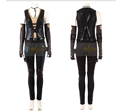 CosplayJet Women's Cosplay Costume for Deadpool 2 Movie Domino Deluxe Full Body Suits Leather Jumpsuit Outfit Halloween Costumes