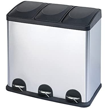 16-Gal. 3-Compartment Stainless Steel Trash and Recycling Bin