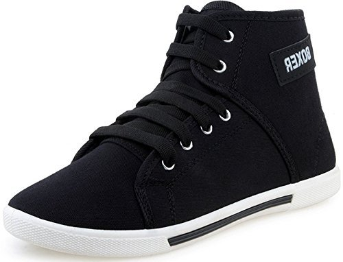 SCATCHITE Men's Black Faux Leather Casual Shoes Men's Sneakers at amazon