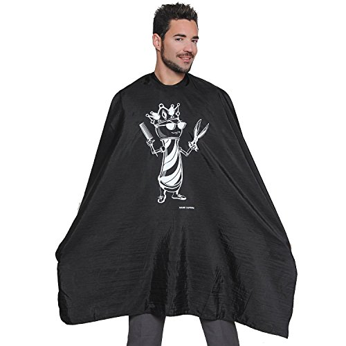 Barber Cape with Crown Design-Professional Nylon Salon Cape Has Perfect Fit Because Of The Snap Closure Excellent for Cutting Hair at Home, Barbershop or Hair Salon by Mane Caper