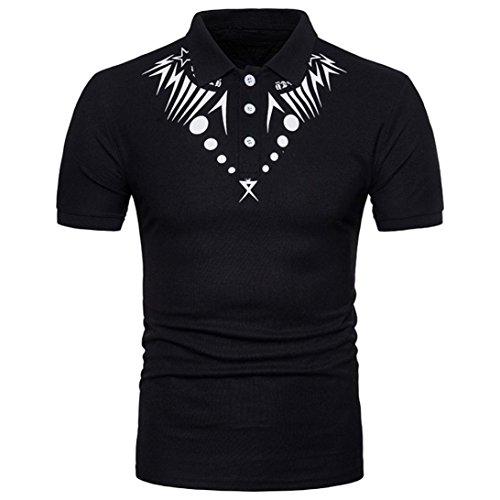 Malloom® Männer Ethnische Art Bedrucktes T-Shirt mit V-Ausschnitt Mode Herren Slim Fit V-Ausschnitt Gedruckt Muskel T-Shirt Casual Tops Herbst,Sommer FrühlingtäglichSporPolyester Schwarz