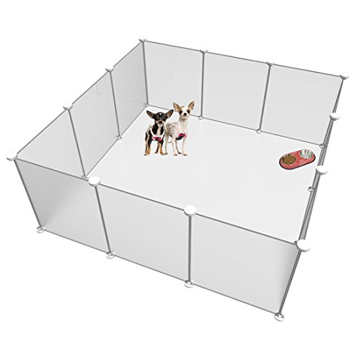 LANGXUN Free Adjustable Size and Height of DIY Pet Playpen - Plastic Yard Fence for Small Animals - DIY Closet Organization System, Plastic Wire Storage Cubes Organizer - Frosted White 12 Panels