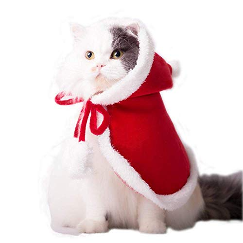 ANIAC Pet Christmas Costume Poncho Cape with Hat Santa Claus Cloak for Cats and Dogs Red -