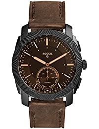Q Men's Q Machine Hybrid Stainless Steel Watch with Leather Calfskin Strap, Brown, 24 (Model: FTW1163)