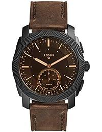 Q Men's Machine Stainless Steel Hybrid Smartwatch, Color: Black, Brown (Model: FTW1163)