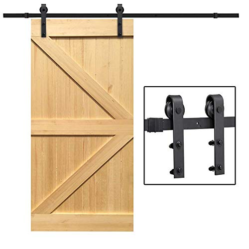 Yaheetech 8Ft Sliding Barn Door Hardware Kit Set Heavy Duty Sturdy Single Barn Door Track Antique Style Closet System Black]()