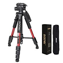 "ZOMEI Q111 55"" Flexible Camera Tripod 4s Stand with 1/4 Mount 3-Way PanHead for DSLR EOS Canon Nikon Sony Samsung(Red)"