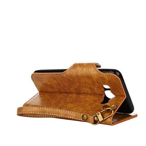 MEIRISHUN Leather Wallet Case Cover Carcasa Funda con Ranura de Tarjeta Cierre Magnético y función de soporte para Samsung Galaxy J5 (2016) - naranja Caqui
