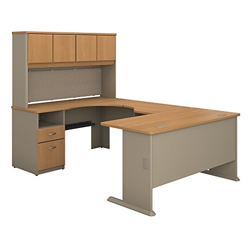 Bush Business Furniture Series A 60W U Shaped Desk with Hutch and 2 Drawer Pedestal in Light Oak and (2 Drawer Oak Hutch)